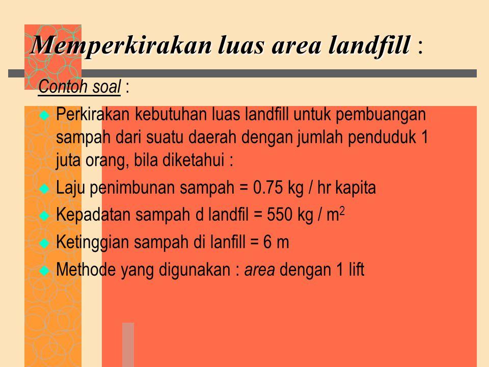 Memperkirakan luas area landfill :
