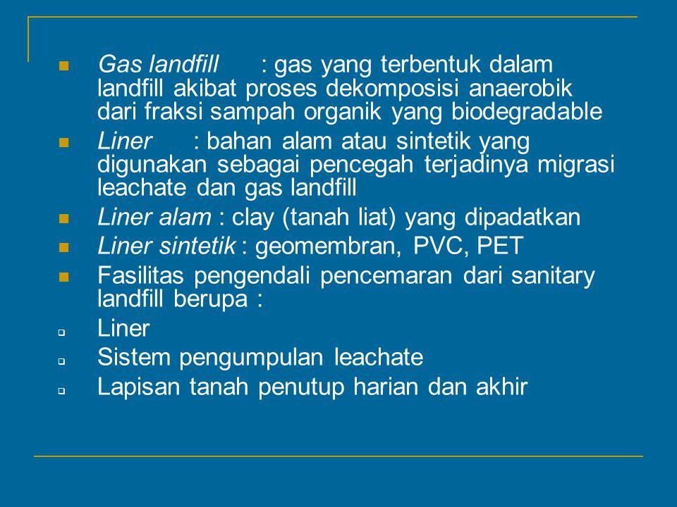 Gas landfill : gas yang terbentuk dalam landfill akibat proses dekomposisi anaerobik dari fraksi sampah organik yang biodegradable