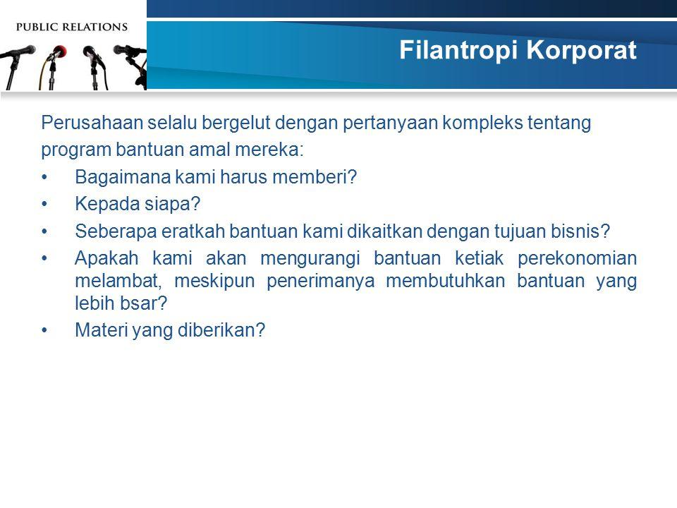Filantropi Korporat Perusahaan selalu bergelut dengan pertanyaan kompleks tentang. program bantuan amal mereka: