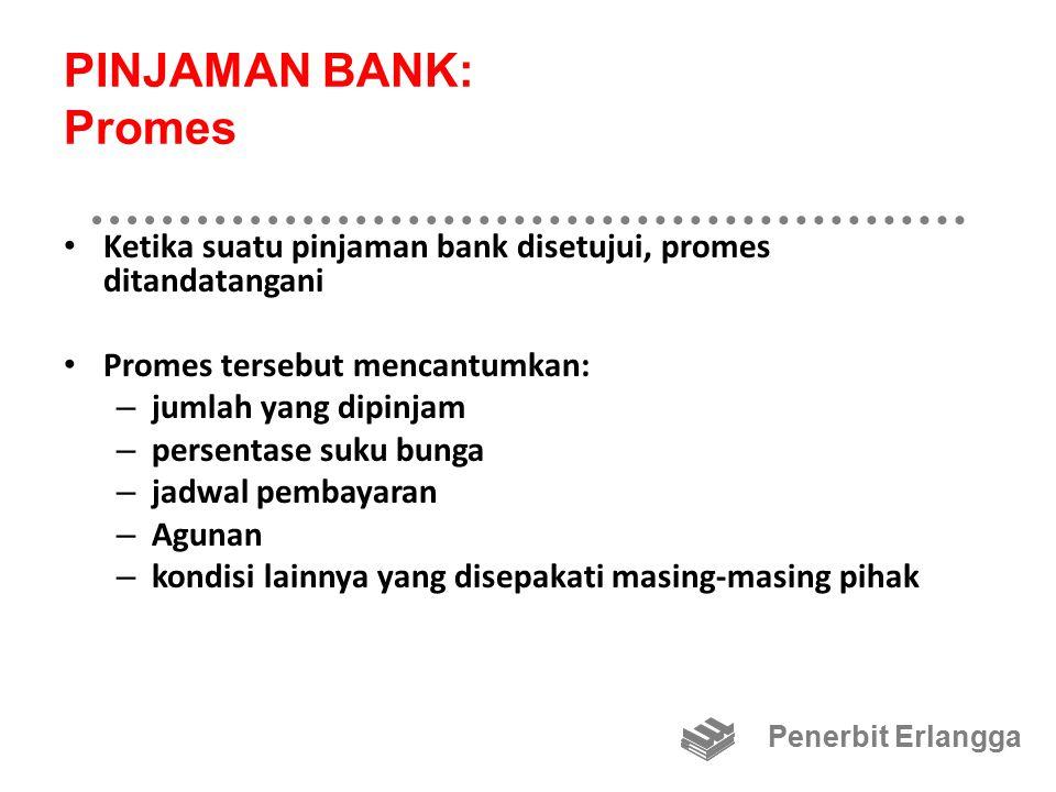 PINJAMAN BANK: Promes Ketika suatu pinjaman bank disetujui, promes ditandatangani. Promes tersebut mencantumkan: