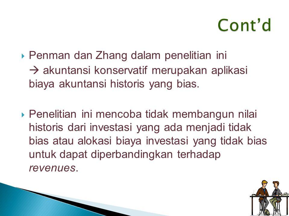 Cont'd Penman dan Zhang dalam penelitian ini