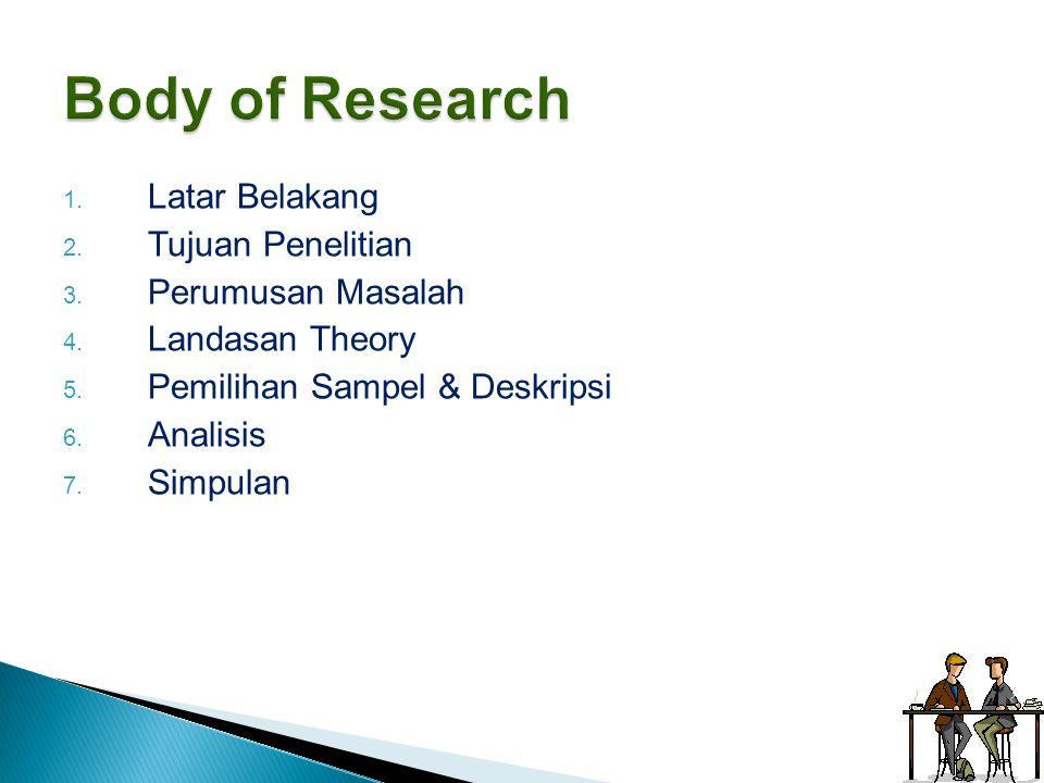 Body of Research Latar Belakang Tujuan Penelitian Perumusan Masalah