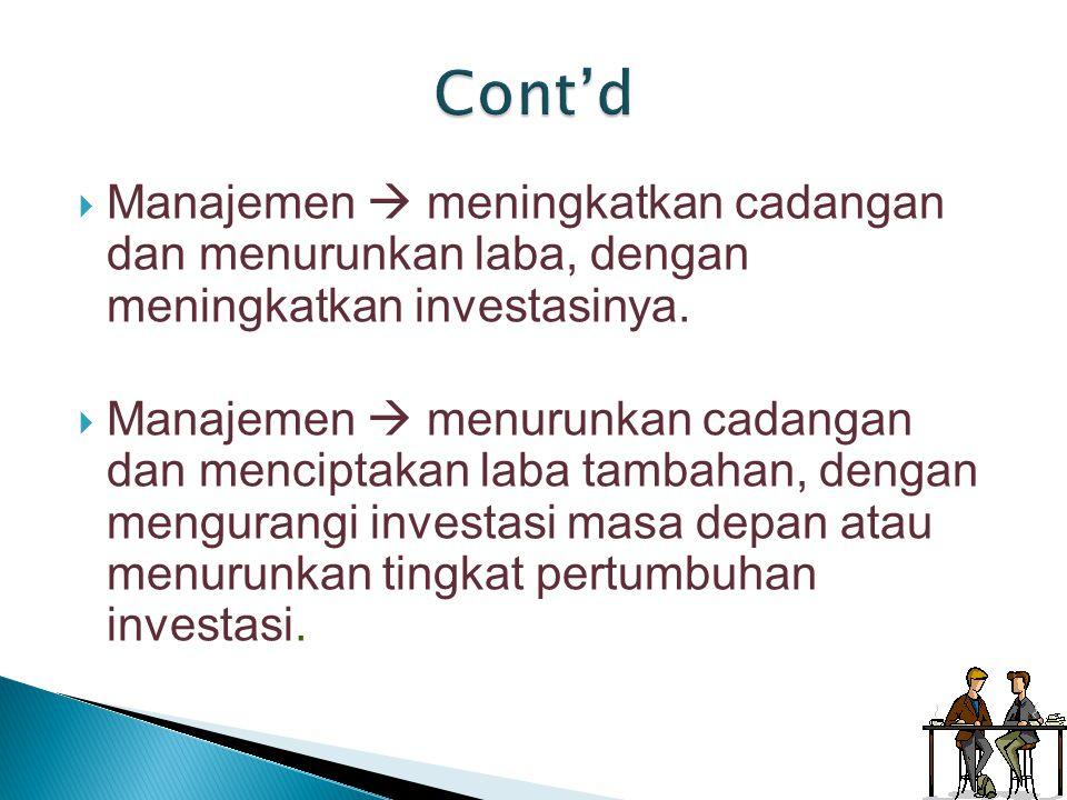 Cont'd Manajemen  meningkatkan cadangan dan menurunkan laba, dengan meningkatkan investasinya.