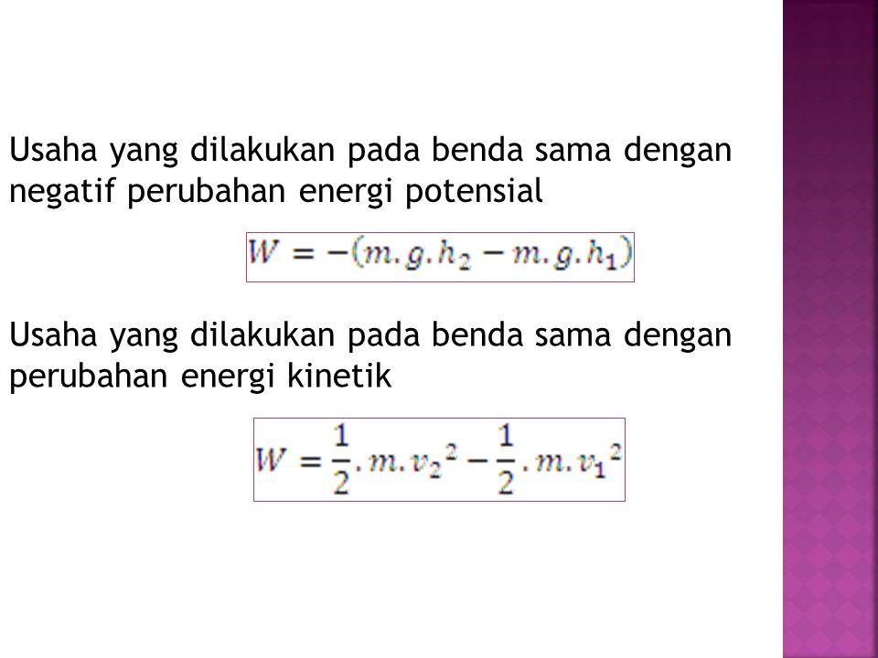 Usaha yang dilakukan pada benda sama dengan negatif perubahan energi potensial