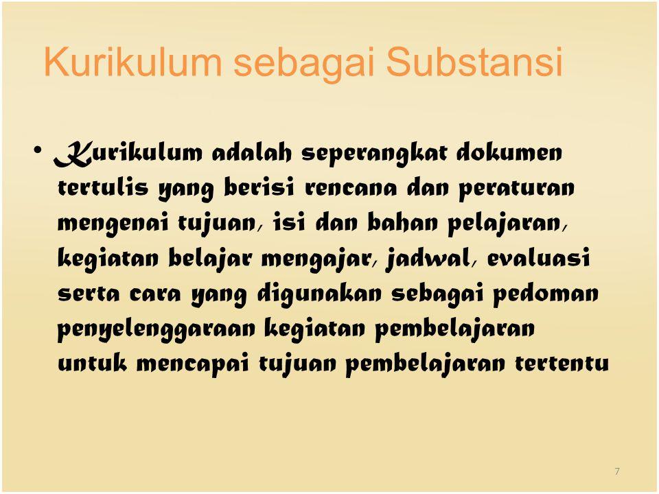 Kurikulum sebagai Substansi