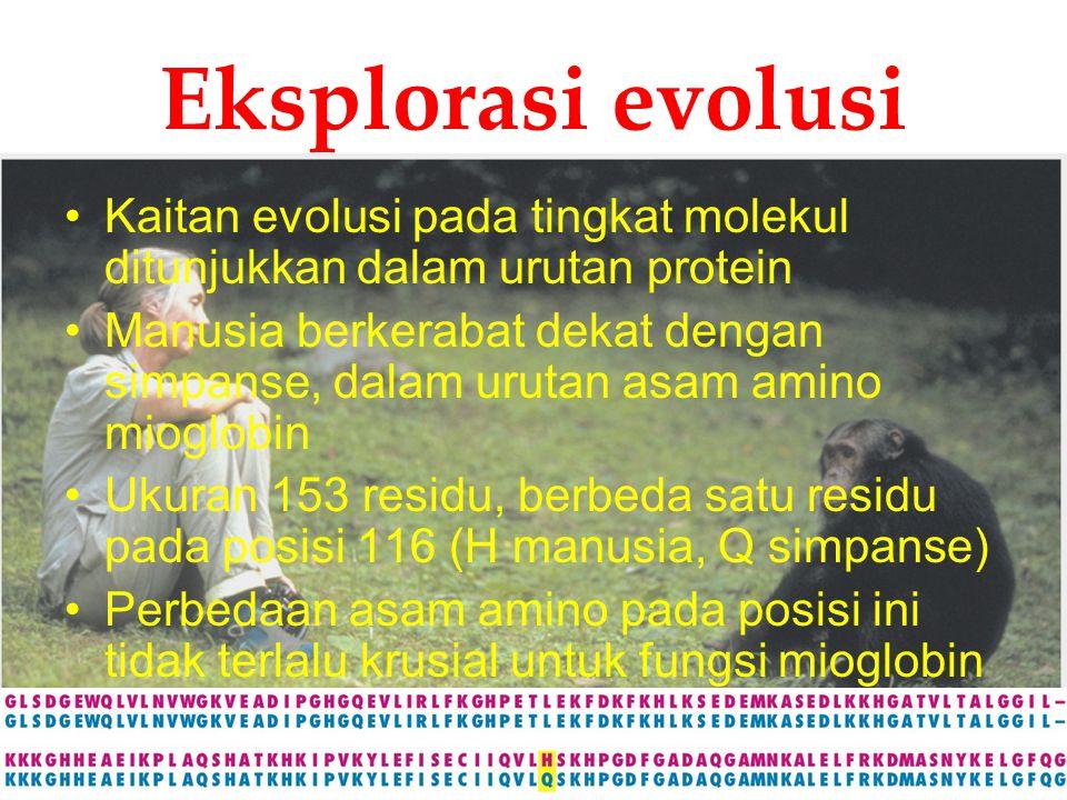 Eksplorasi evolusi Kaitan evolusi pada tingkat molekul ditunjukkan dalam urutan protein.
