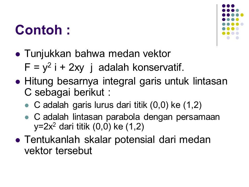 Contoh : Tunjukkan bahwa medan vektor