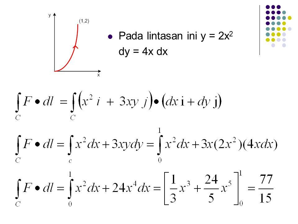 Pada lintasan ini y = 2x2 dy = 4x dx