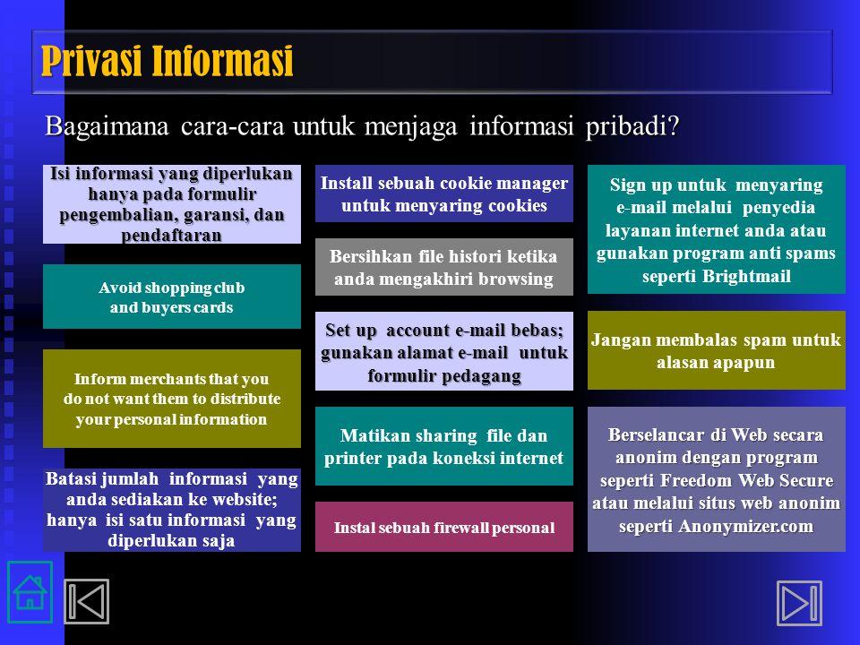 Privasi Informasi Bagaimana cara-cara untuk menjaga informasi pribadi