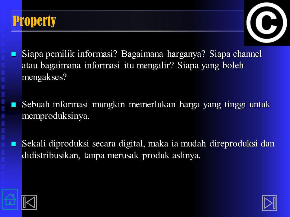 Property Siapa pemilik informasi Bagaimana harganya Siapa channel atau bagaimana informasi itu mengalir Siapa yang boleh mengakses