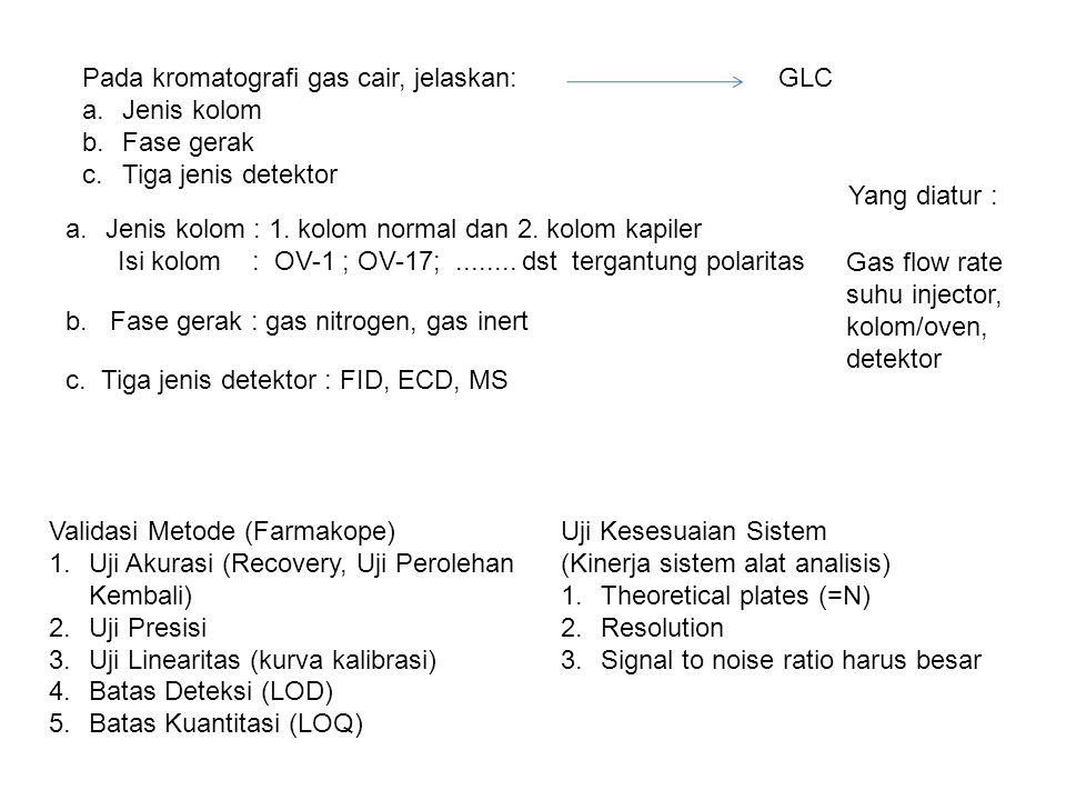 Pada kromatografi gas cair, jelaskan: