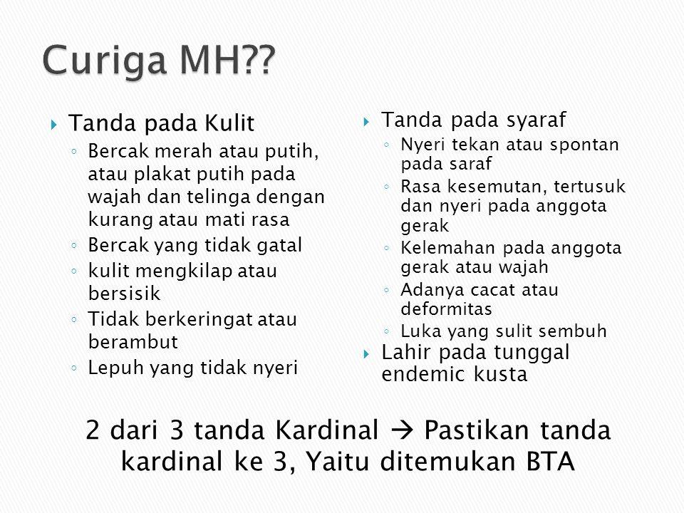 Curiga MH Tanda pada Kulit. Bercak merah atau putih, atau plakat putih pada wajah dan telinga dengan kurang atau mati rasa.