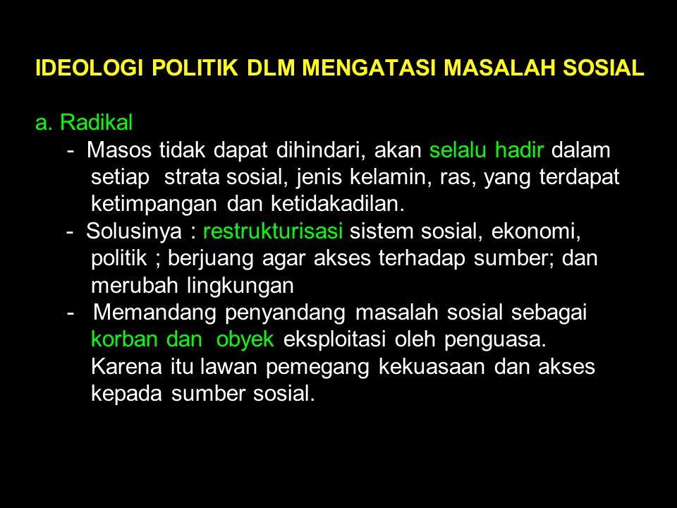 IDEOLOGI POLITIK DLM MENGATASI MASALAH SOSIAL