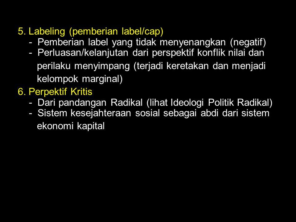 5. Labeling (pemberian label/cap) - Pemberian label yang tidak menyenangkan (negatif) - Perluasan/kelanjutan dari perspektif konflik nilai dan