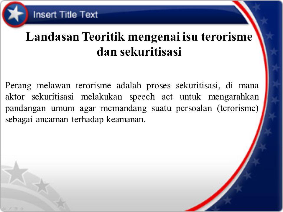 Landasan Teoritik mengenai isu terorisme dan sekuritisasi