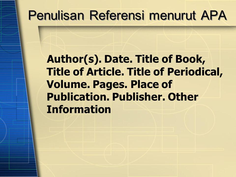 Penulisan Referensi menurut APA