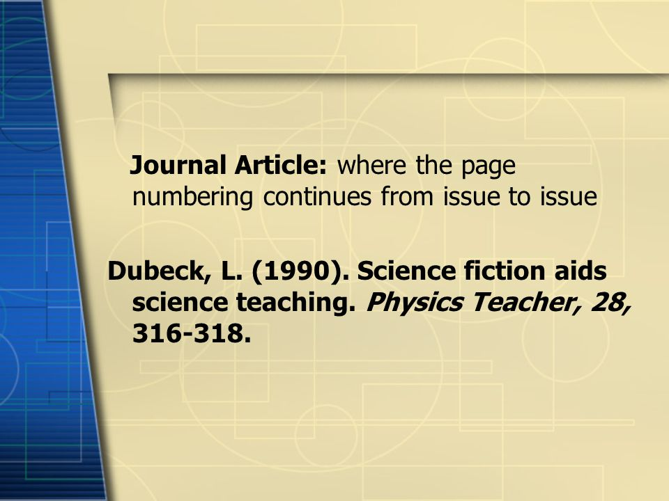 Journal Article: where the page numbering continues from issue to issue