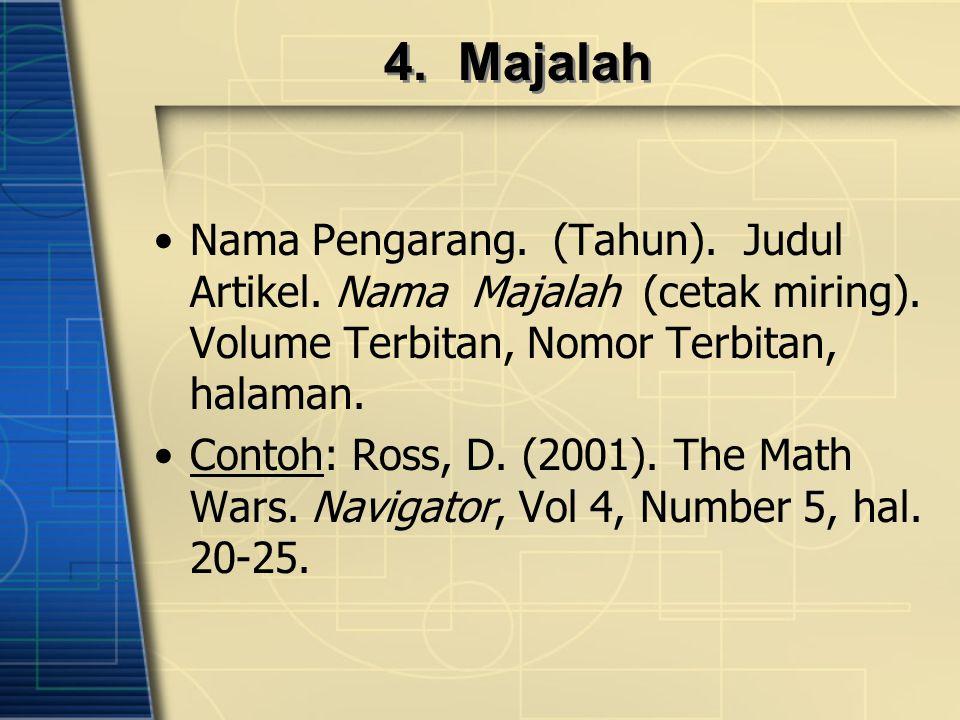 4. Majalah Nama Pengarang. (Tahun). Judul Artikel. Nama Majalah (cetak miring). Volume Terbitan, Nomor Terbitan, halaman.