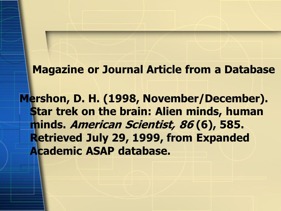 Magazine or Journal Article from a Database