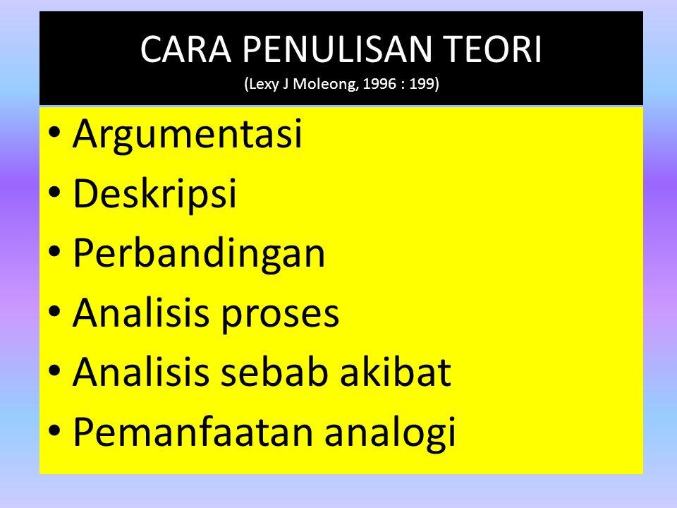 CARA PENULISAN TEORI (Lexy J Moleong, 1996 : 199)