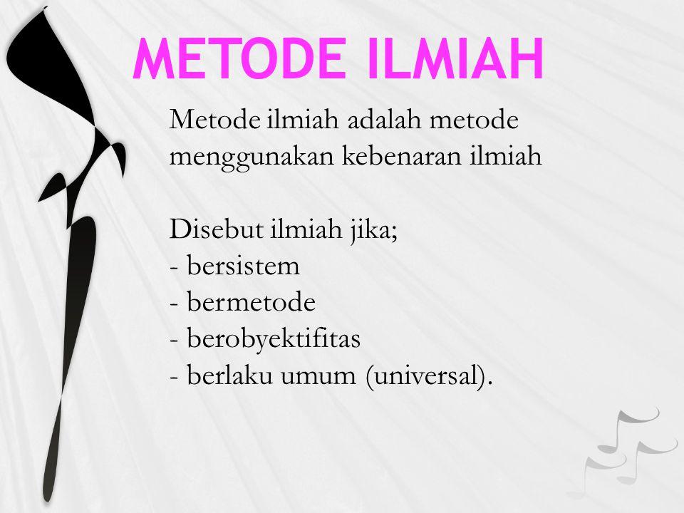 METODE ILMIAH Metode ilmiah adalah metode menggunakan kebenaran ilmiah