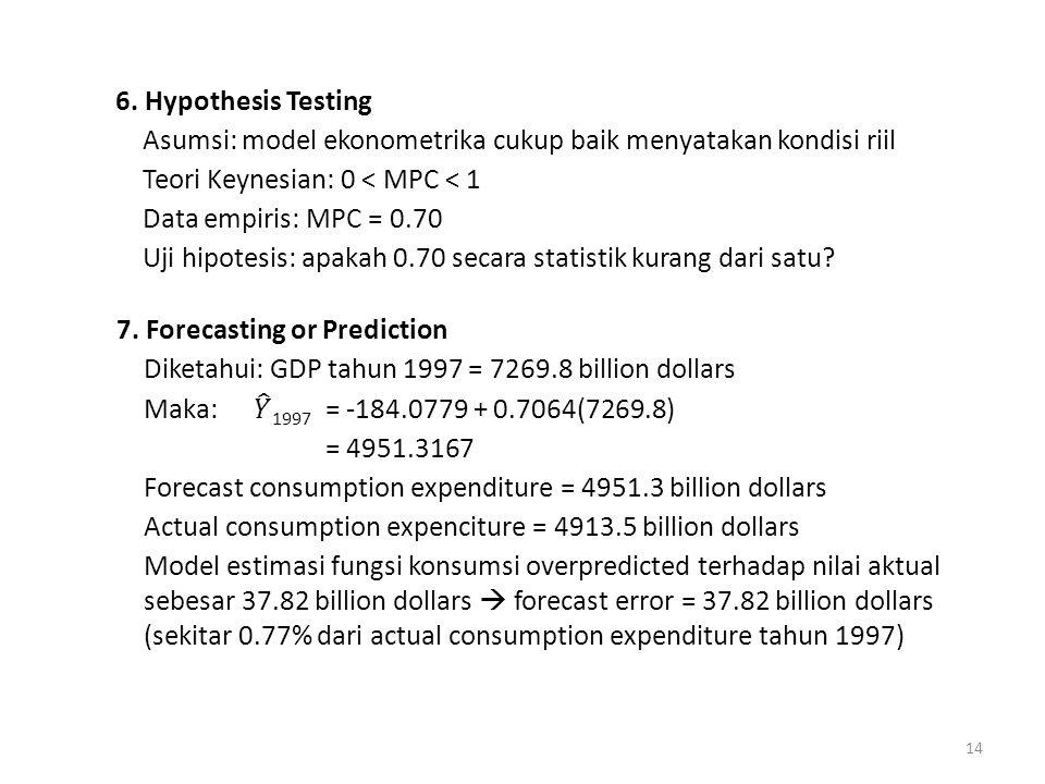 6. Hypothesis Testing Asumsi: model ekonometrika cukup baik menyatakan kondisi riil Teori Keynesian: 0 < MPC < 1 Data empiris: MPC = 0.70 Uji hipotesis: apakah 0.70 secara statistik kurang dari satu