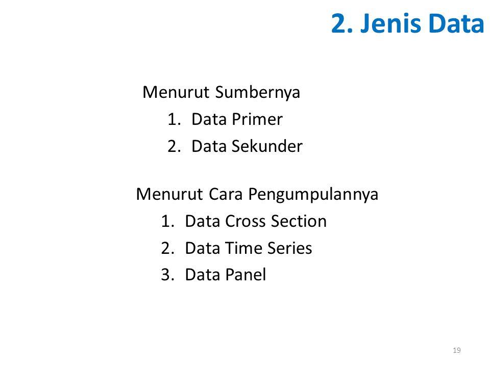 2. Jenis Data Menurut Sumbernya Data Primer Data Sekunder