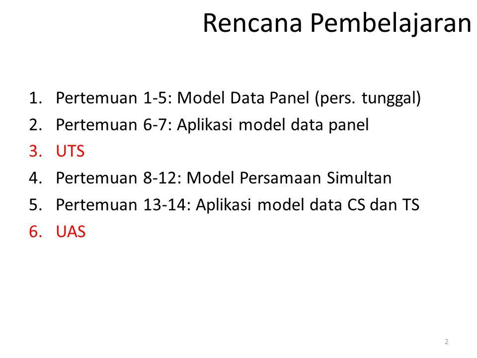 Rencana Pembelajaran Pertemuan 1-5: Model Data Panel (pers. tunggal)