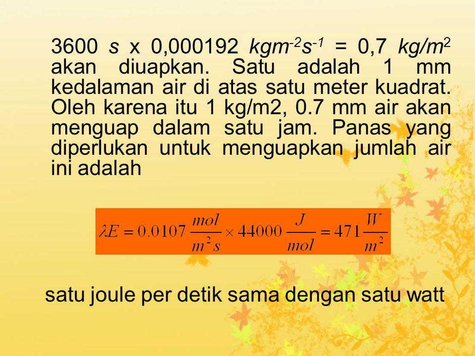3600 s x 0,000192 kgm-2s-1 = 0,7 kg/m2 akan diuapkan