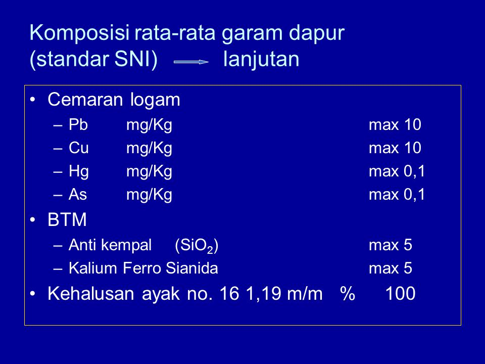 Komposisi rata-rata garam dapur (standar SNI) lanjutan