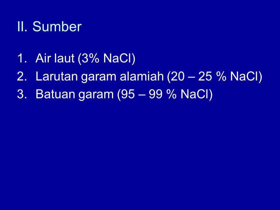 II. Sumber Air laut (3% NaCl) Larutan garam alamiah (20 – 25 % NaCl)