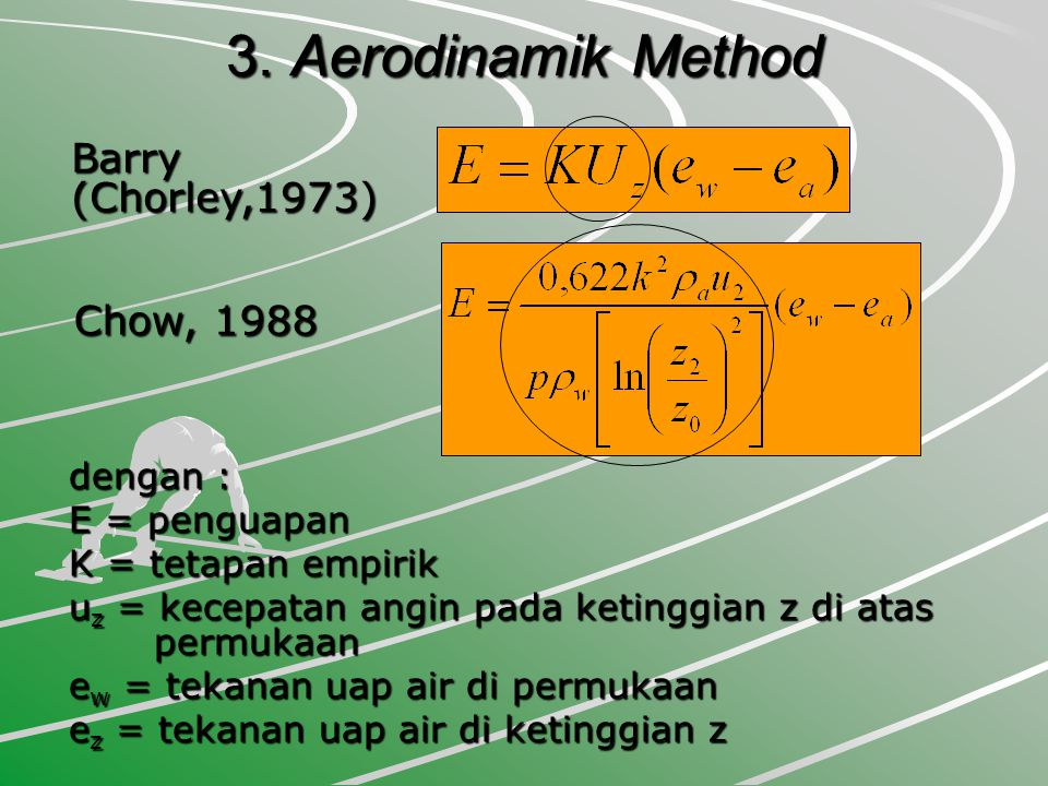 3. Aerodinamik Method Barry (Chorley,1973) Chow, 1988 dengan :