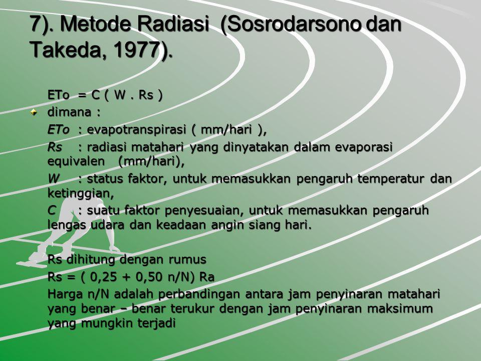 7). Metode Radiasi (Sosrodarsono dan Takeda, 1977).