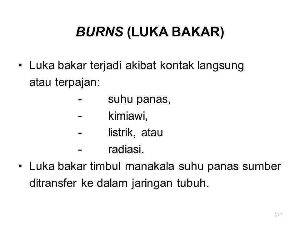 BURNS (LUKA BAKAR) Luka bakar terjadi akibat kontak langsung
