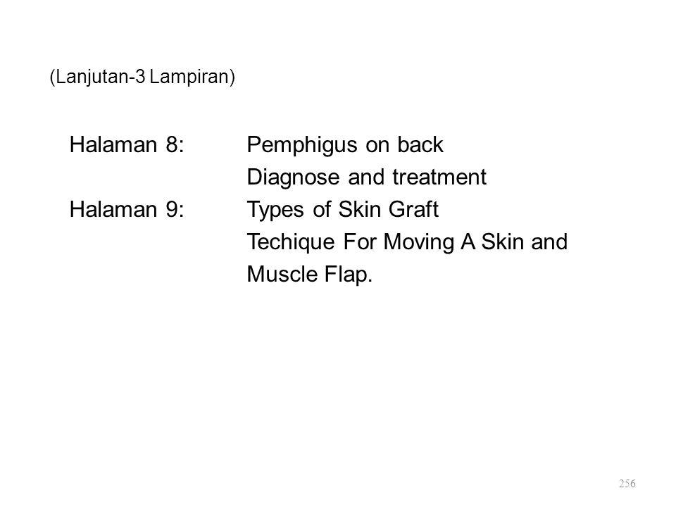(Lanjutan-3 Lampiran) Halaman 8: Pemphigus on back Diagnose and treatment Halaman 9: Types of Skin Graft Techique For Moving A Skin and Muscle Flap.