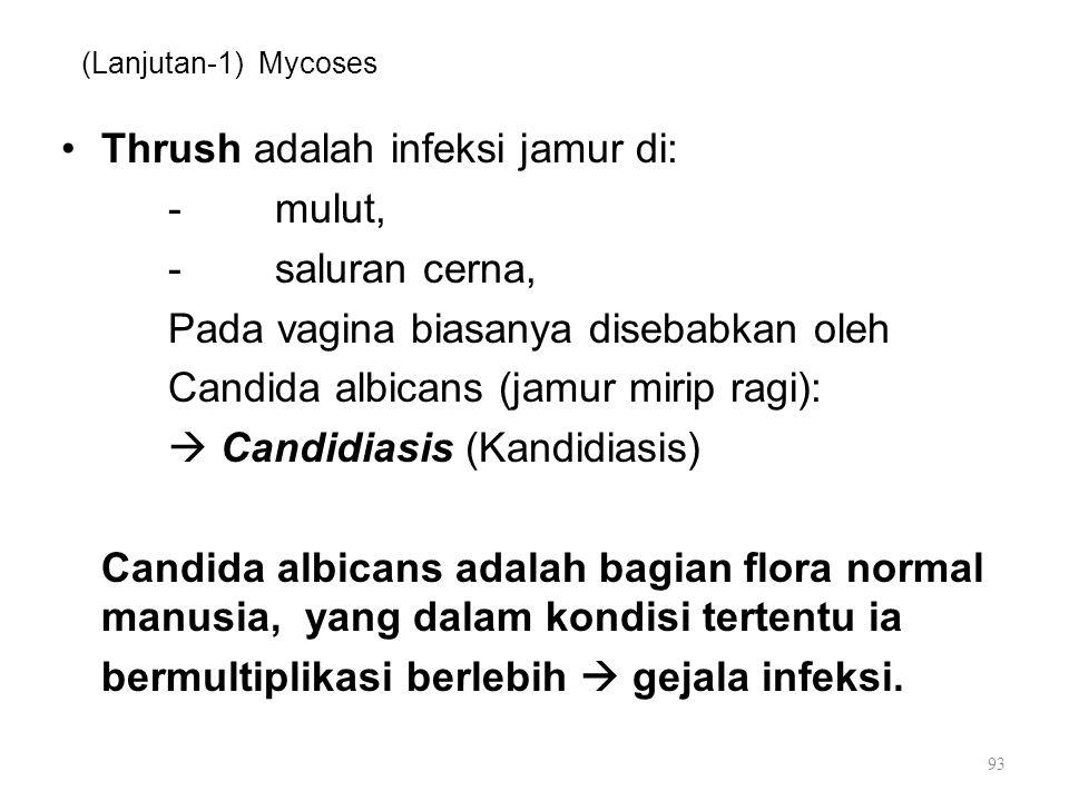 Thrush adalah infeksi jamur di: - mulut, - saluran cerna,