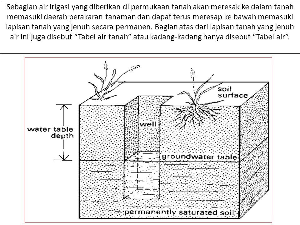 Sebagian air irigasi yang diberikan di permukaan tanah akan meresak ke dalam tanah memasuki daerah perakaran tanaman dan dapat terus meresap ke bawah memasuki lapisan tanah yang jenuh secara permanen.