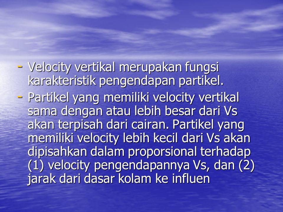 Velocity vertikal merupakan fungsi karakteristik pengendapan partikel.
