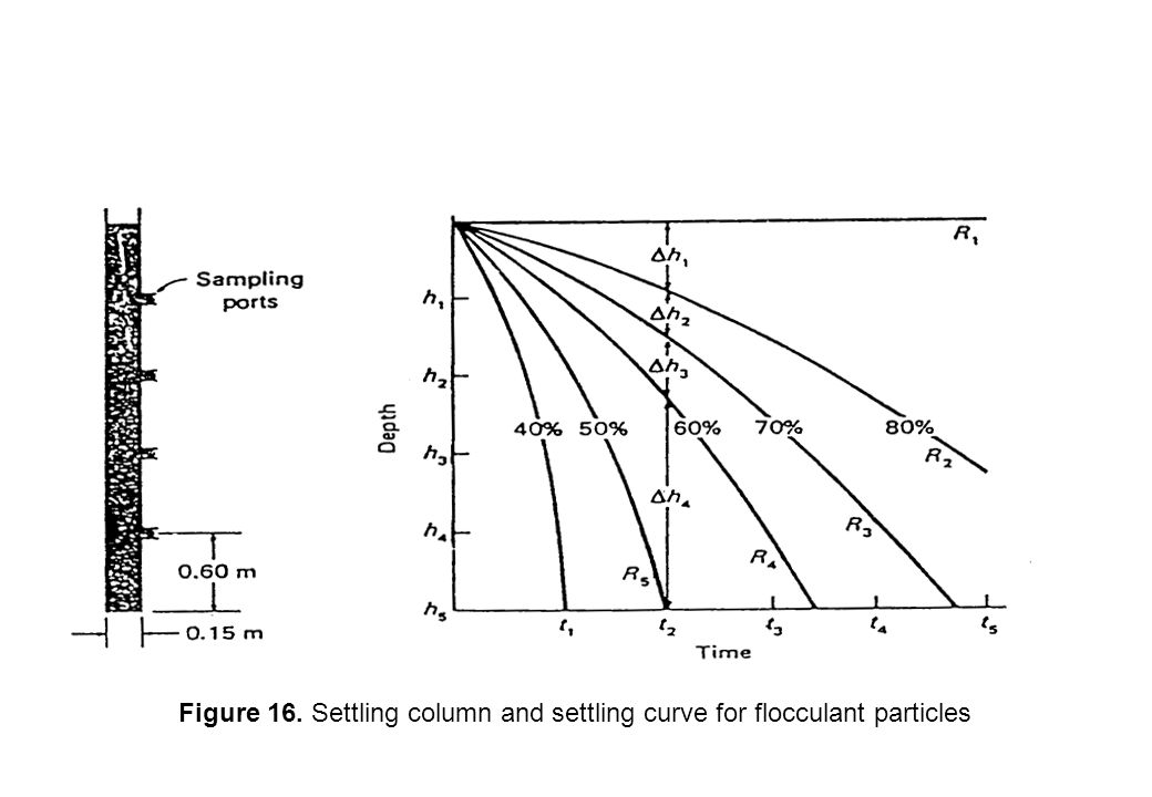 Figure 16. Settling column and settling curve for flocculant particles