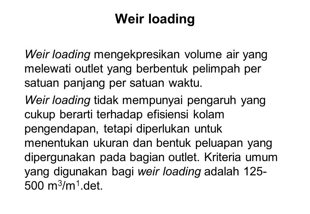 Weir loading Weir loading mengekpresikan volume air yang melewati outlet yang berbentuk pelimpah per satuan panjang per satuan waktu.
