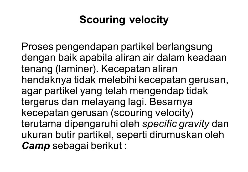 Scouring velocity