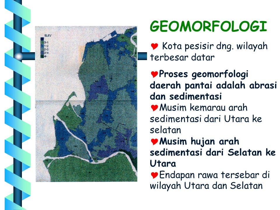 GEOMORFOLOGI Kota pesisir dng. wilayah terbesar datar