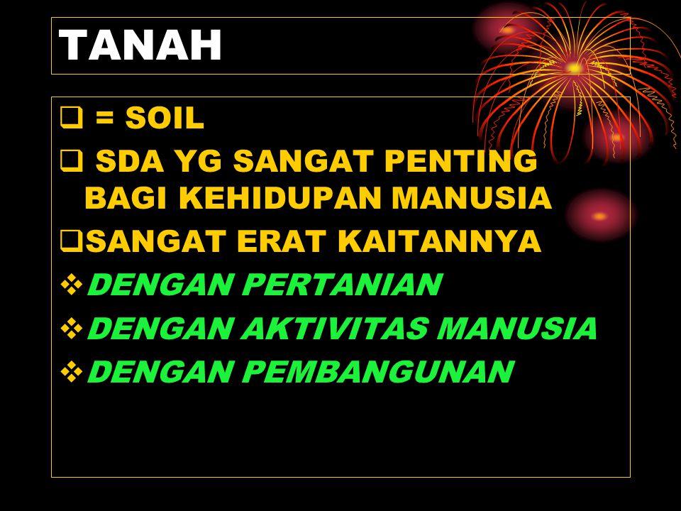 TANAH = SOIL SDA YG SANGAT PENTING BAGI KEHIDUPAN MANUSIA