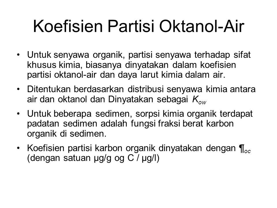 Koefisien Partisi Oktanol-Air