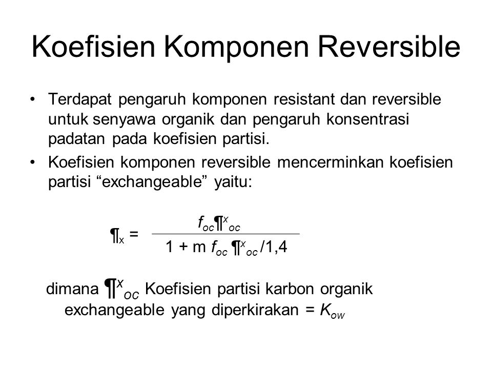 Koefisien Komponen Reversible