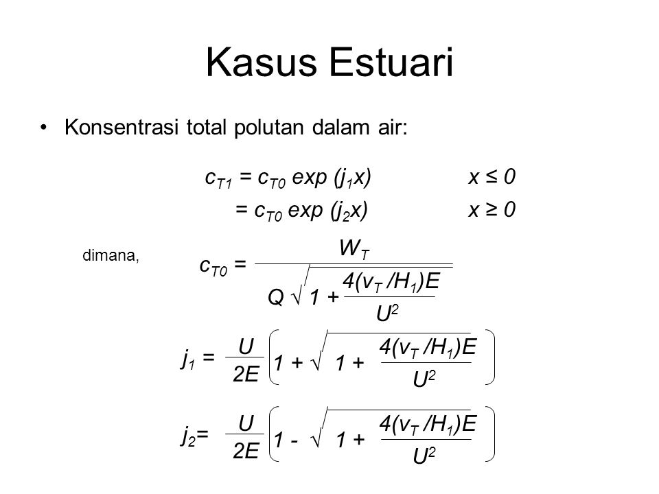 Kasus Estuari Konsentrasi total polutan dalam air: