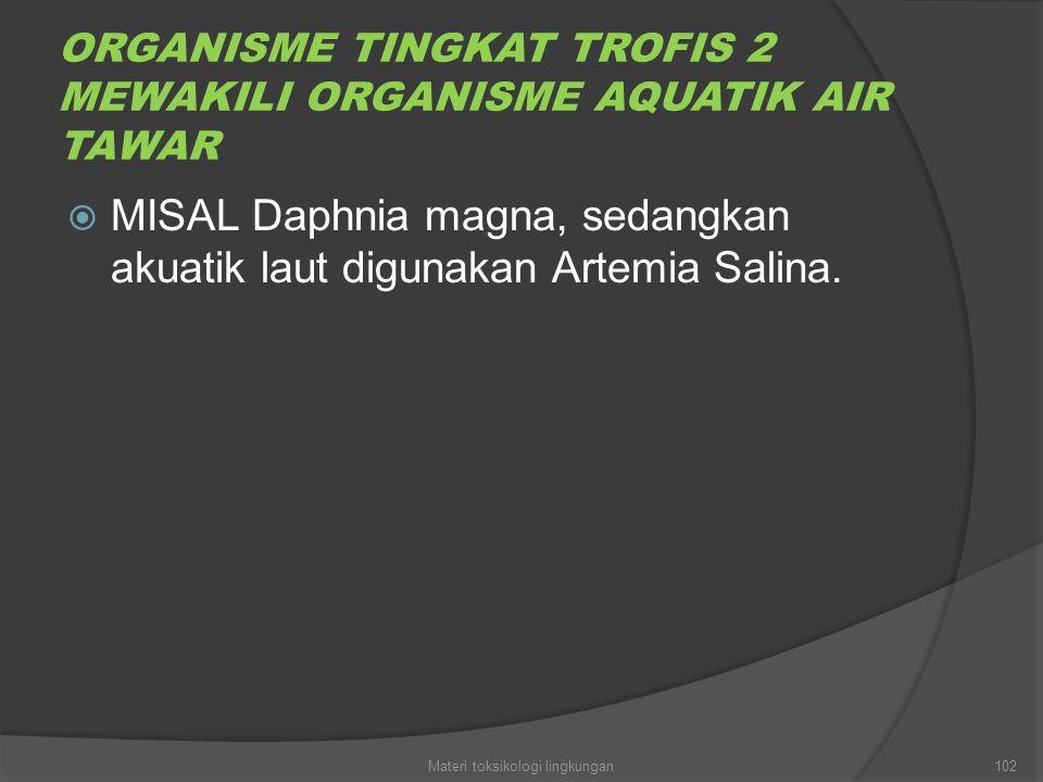 ORGANISME TINGKAT TROFIS 2 MEWAKILI ORGANISME AQUATIK AIR TAWAR