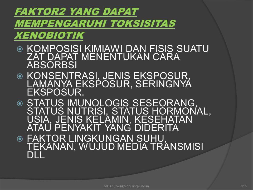 FAKTOR2 YANG DAPAT MEMPENGARUHI TOKSISITAS XENOBIOTIK