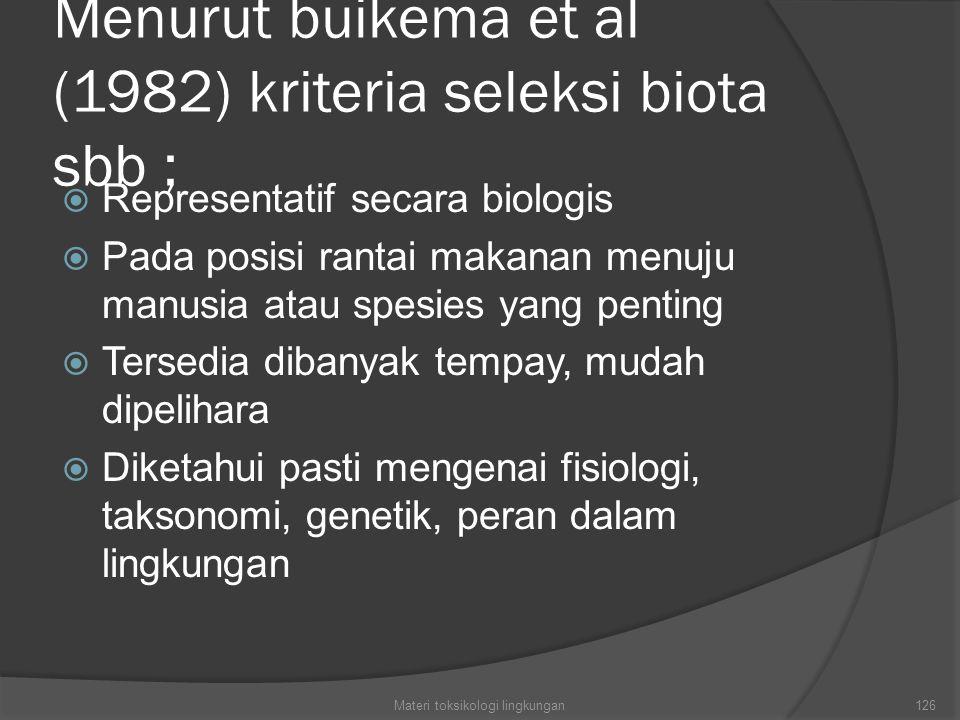 Menurut buikema et al (1982) kriteria seleksi biota sbb ;