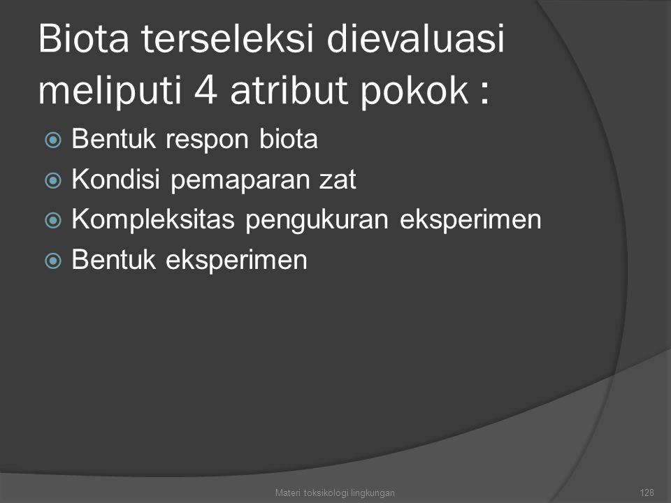 Biota terseleksi dievaluasi meliputi 4 atribut pokok :